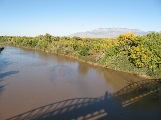 Rio Grande and Sandia Mountains from the I-40 Trail bridge