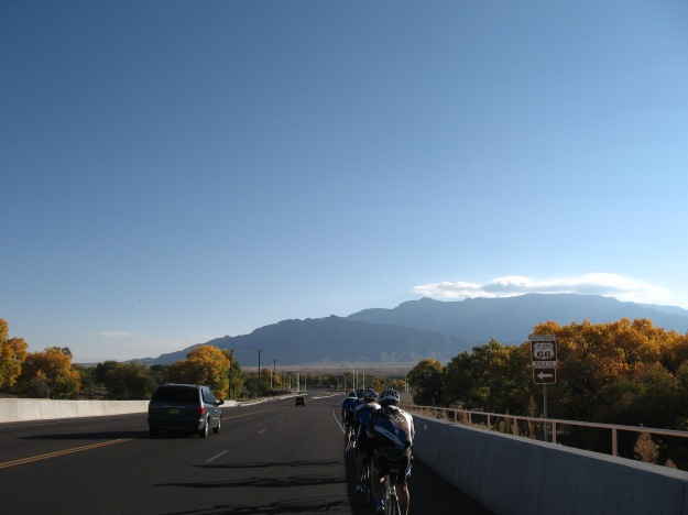 crossing the Rio Grande approaching the Sandia Pueblo lands where we'll turn north to Bernalillo