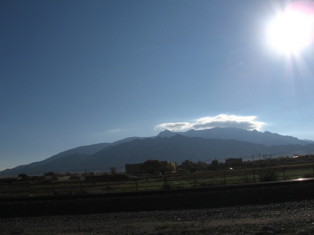 The Sandia Pueblo and Mountains highlighted by Sunday morning sun