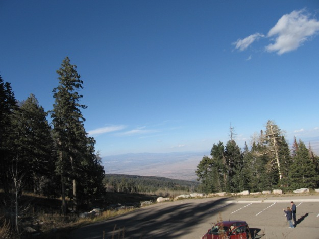 looking north you can see the Jemez Mtns., & the Sangre de Cristo Mtns. above Santa Fe