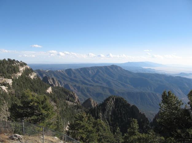 looking south at the Manzano Mountains