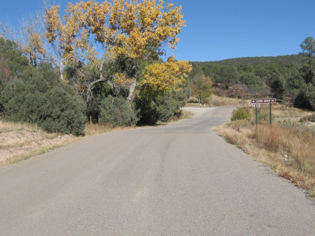 I took the left on Cedro Peak road.  Although it is dirt Chris told me you can climb it on a road bike.  Well which was am I going to go but up