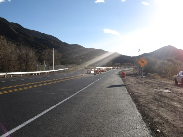 the barrier appears a few miles west of the Village of Tijeras on the I-40 underpass