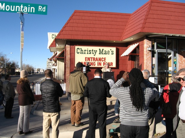Councilor Diane Gibson in front of Christy Mae's announcing plans for San Pedro Rd. redesign