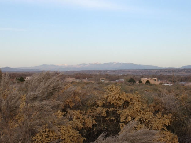 You can see the Sandia Mtns directly east, and to the north the Sangre de Cristo sing out to the sky
