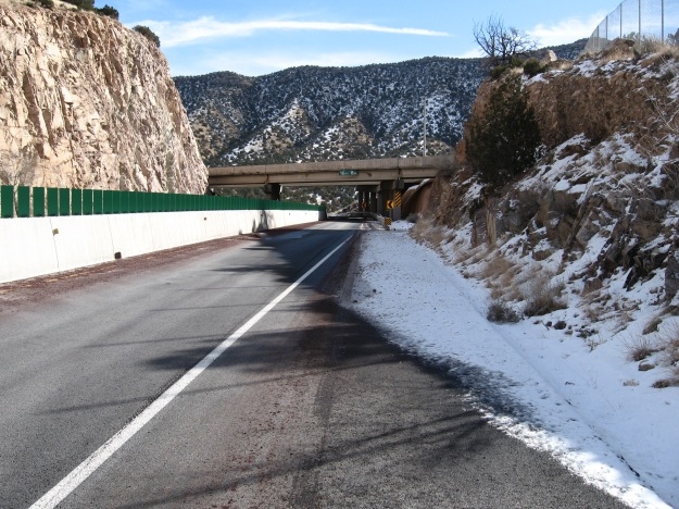 entering deadman's curve eastbound on Tijeras Old Route 66 on January 4, 2015