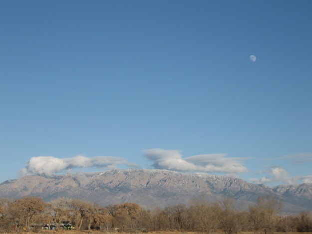 Moon up over the Sandia mountains