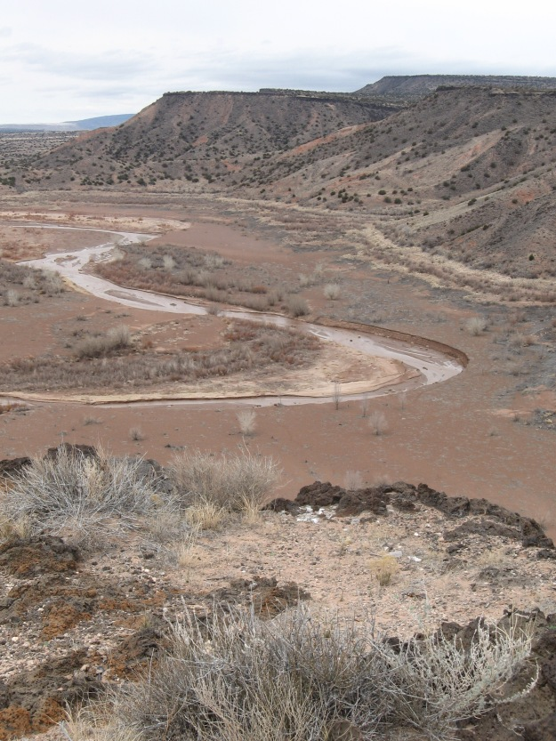 Jemez river just above the dam site, a few miles west of confluence with the Rio Grande