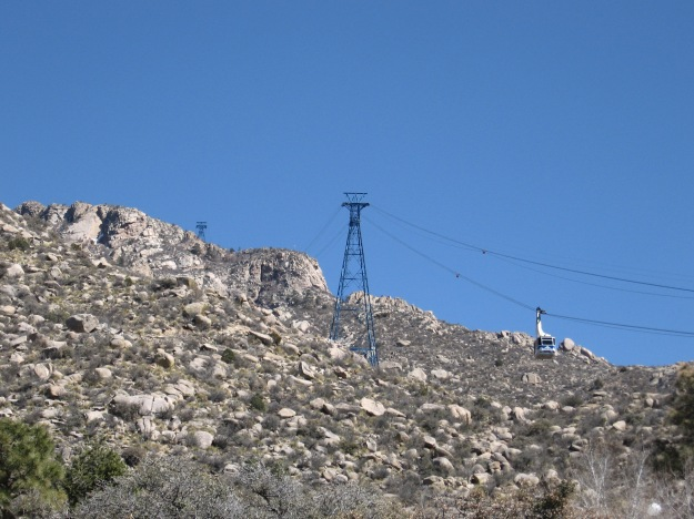 the Tramway that connects Sandia Heights to the Crest. I am afraid of heights, even though I used to be a roofer. You do what you've got to do.