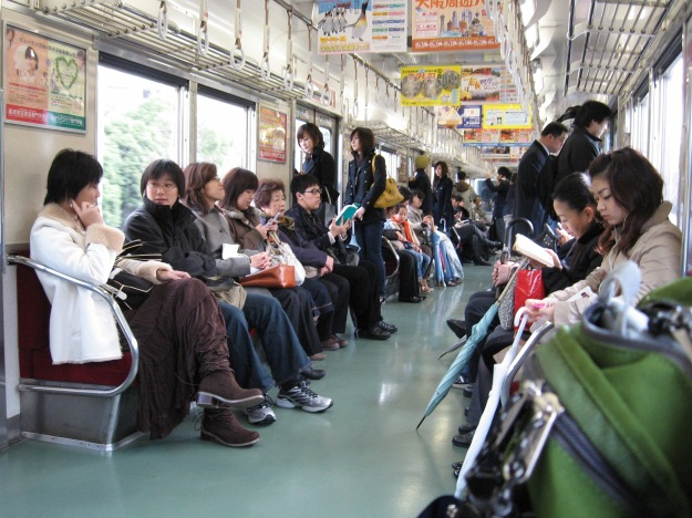 Chilling out on a local train in Japan