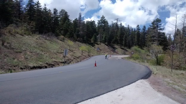 last summer NMDOT repaved the first 6 miles of the Crest road.  This summer they are doing the rest!