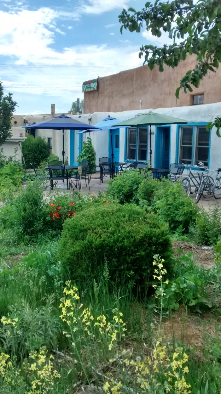 The La Cueva Cafe back patio at Historic Casa Baca Plaza