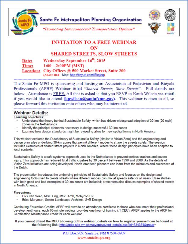 Santa Fe MPO Sustainable Safety training