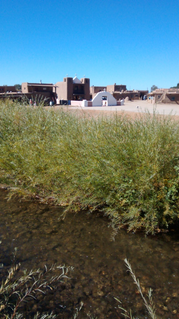 Taos church and flowing water
