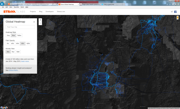 Strava heat map New Mexico Greater ABQ