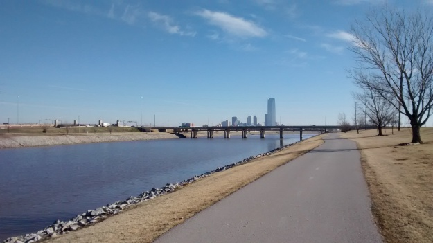 OKC river trail downtown view